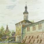 Надвратная-церковь.Кириллов.1994г.бум.акв.35х27